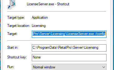 License server shortcut target
