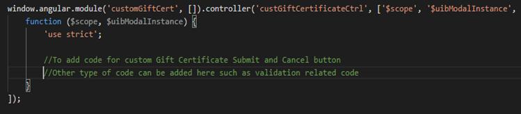 Controller code