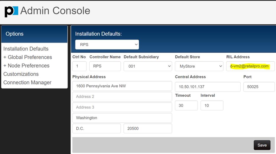 RIL Address in Installation Defaults