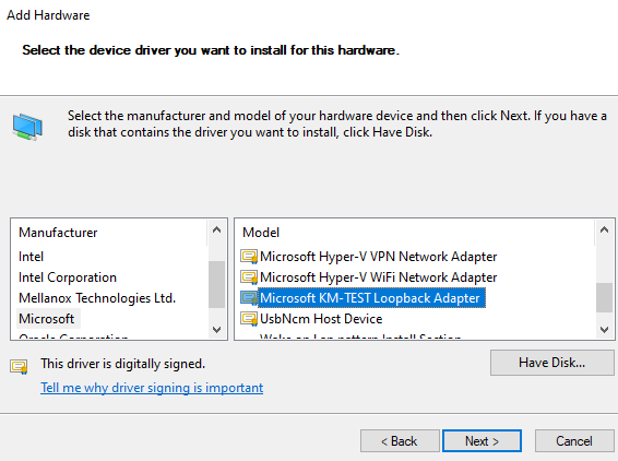 Select the Microsoft KM-TEST Loopback Adapter