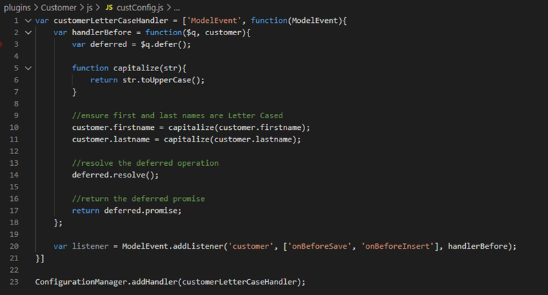 javascript code for customer name customization