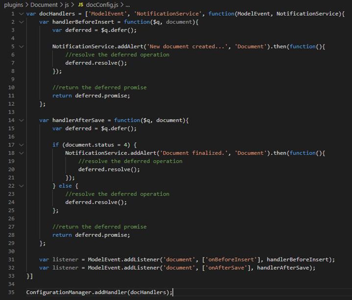 Javascript code for document message customization