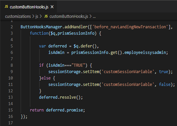 Set custom session variable