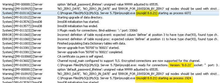 Validate MySQL 8.0 has started
