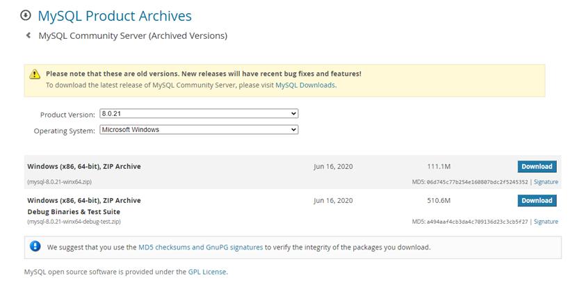 Download MySQL Zip file
