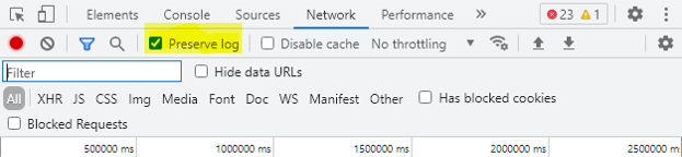 Network tab - Preserve Log