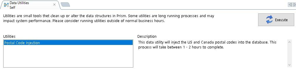 data utilities execute button