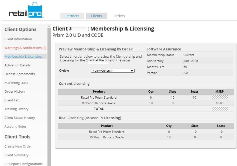 Prism 2.0 License Client ID