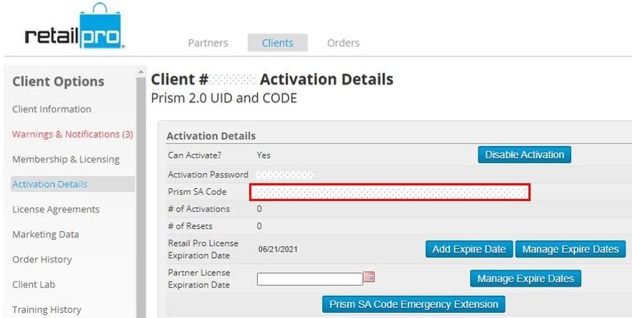 Prism 2.0 License Validation Key screen