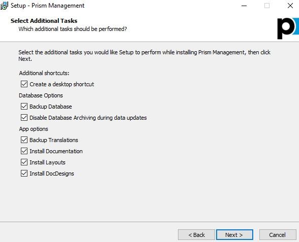 Prism management install options
