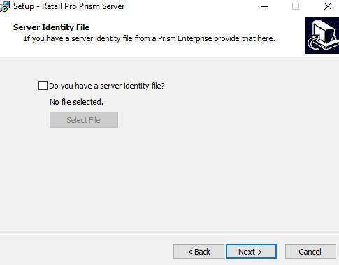 Prism server identify file