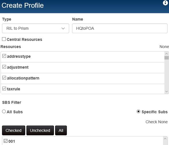 RIL to Prism profile
