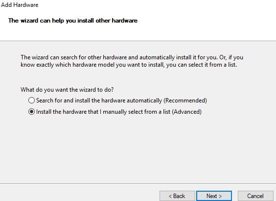 add hardware manually