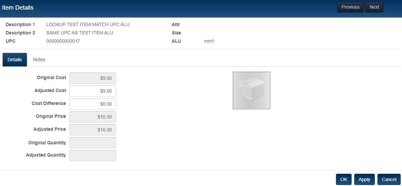 adjustment memo item details
