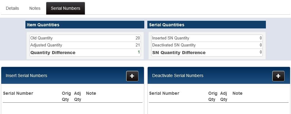 adjustment memo serial numbers