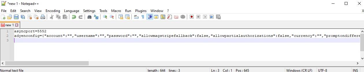 Notepad plus plus file showing Adyen base configuration