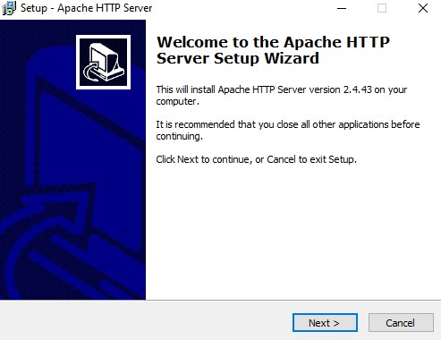 Apache installer welcome screen