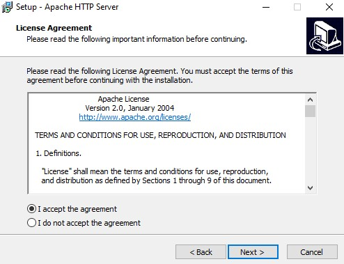 Apache install license agreement