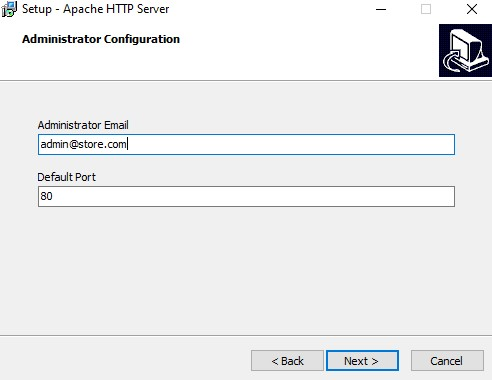 Apache install email address entry