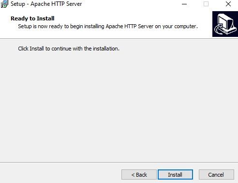 Apache installer, start install