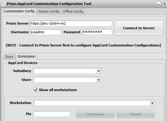 AppCard customization config workstation tab