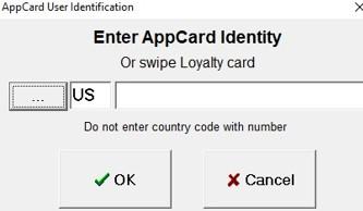 App Card identity entry