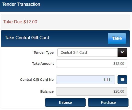 Central gift card balance