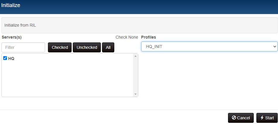 RIL Dashboard start initialization