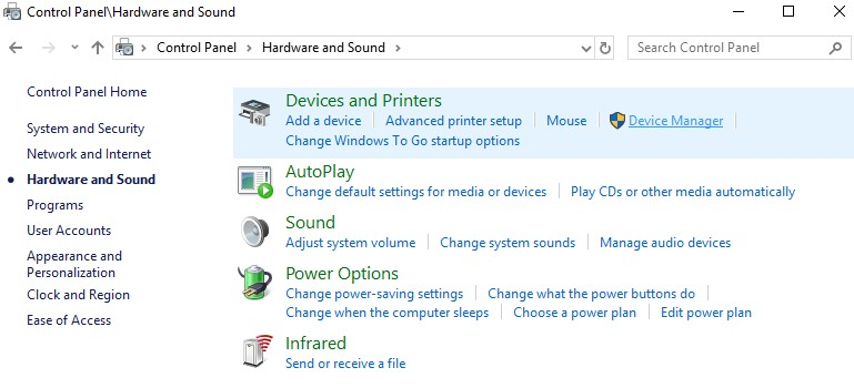 control panel to device manager