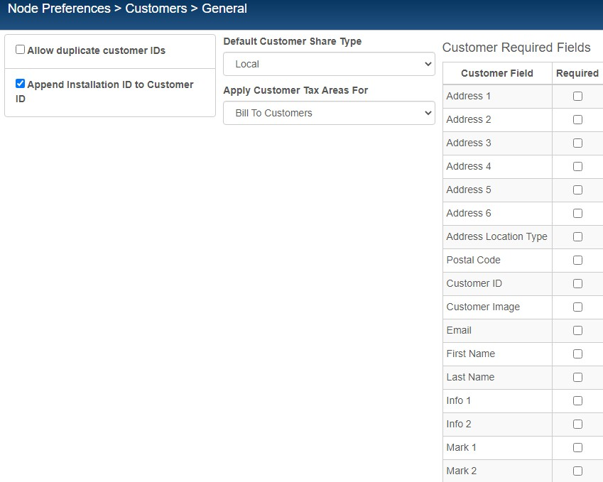 Customers General Preferences