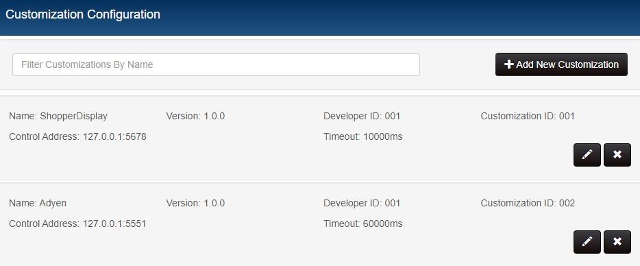 Customization list with Adyen