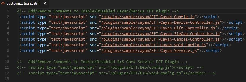 customizations html file