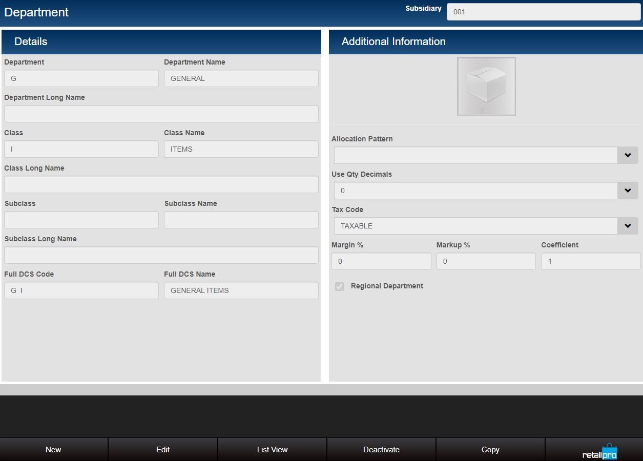 Department record