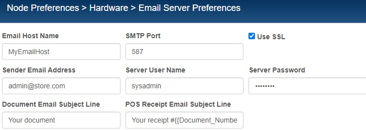 email server preferences with ssl checkbox