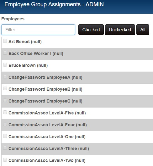 Employee assignment list