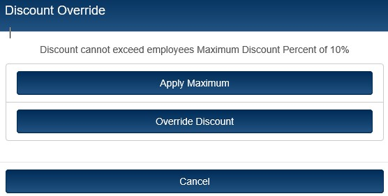 Employee Max Discount Prompt
