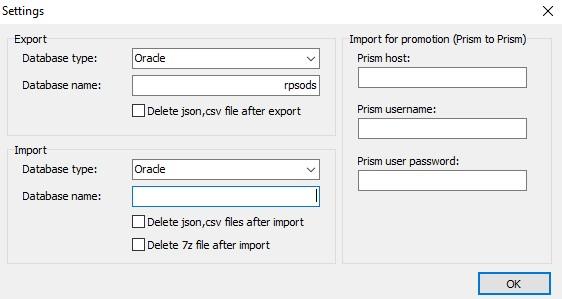 export import options