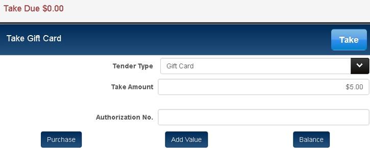 gift card tender options