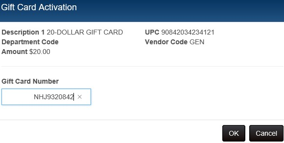 Gift card activation dialog