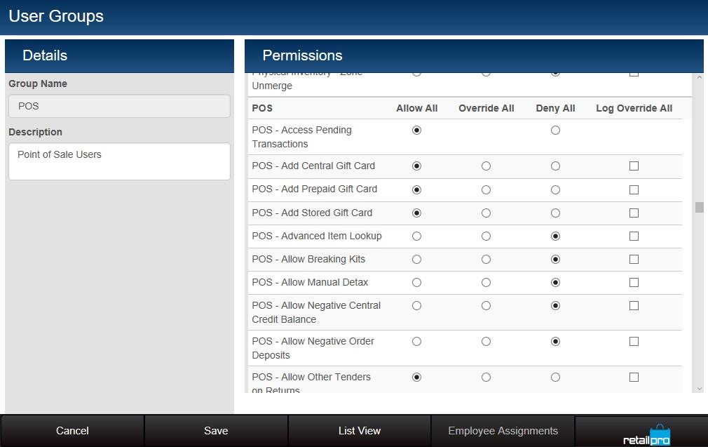 Group management screen showing permission list
