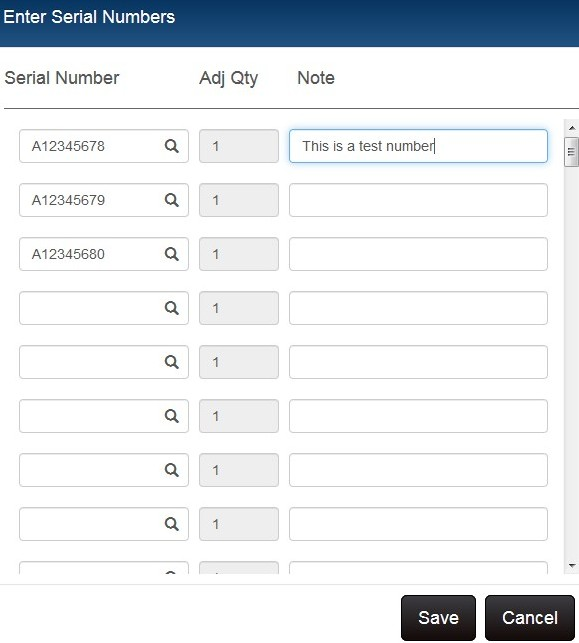 inventory serial number dialog