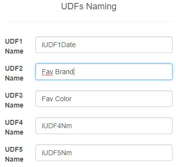 Inventory UDF Fields