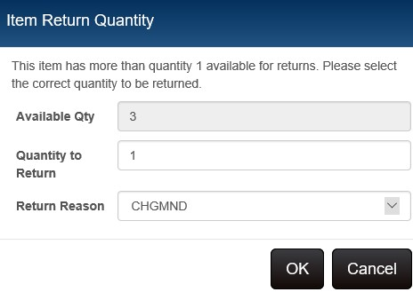 return item quantity