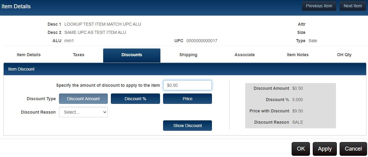Sample item discounts