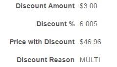 multi discount reason