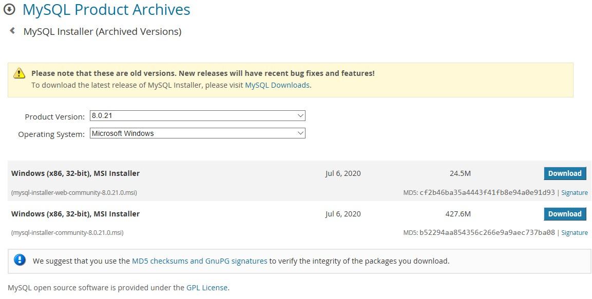 MySQL 8 installer download