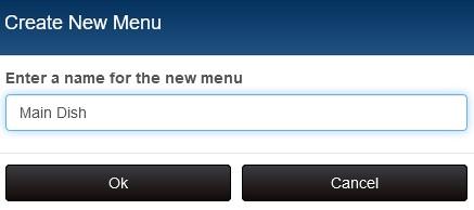 New menu dialog