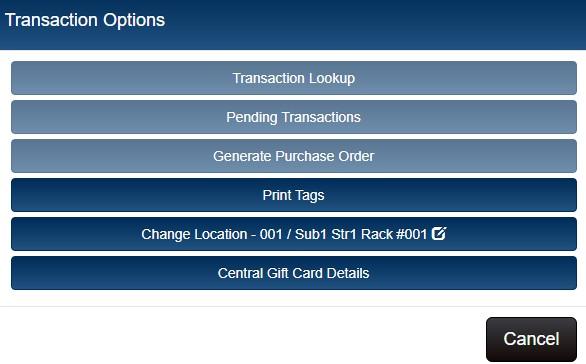 options button menu, central gift card details