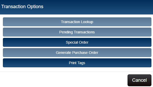 options menu special order button