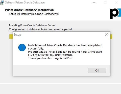 oracle install complete message